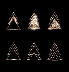 a set geometric christmas trees gold glitter vector image