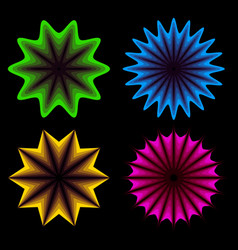 Abstract neon shapes in 4 colors vector