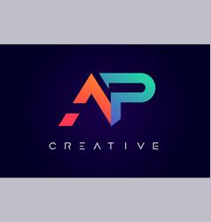 Ap logo letter design with modern creative vector