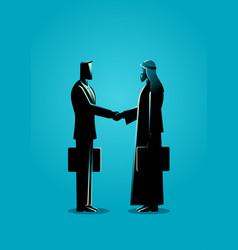 arabic businessman shake hand with western vector image