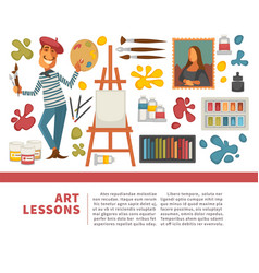 Artist painting tools and artistic materials vector