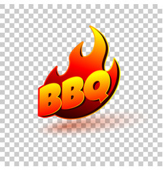 Bbq grill text with fire flames label logo or vector