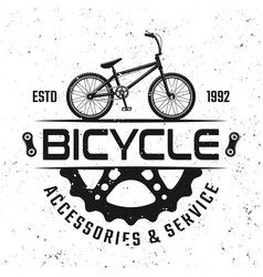 Bicycle store round emblem badge or logo vector