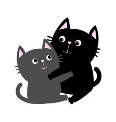 Black gray cat hugging family couple hug embrace vector