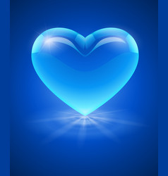 Blue glass heart vector