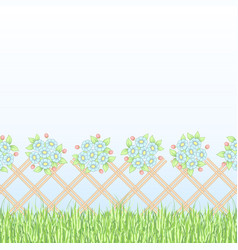brown lattice with flowers vector image