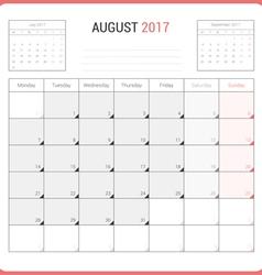 Calendar Planner for August 2017 vector