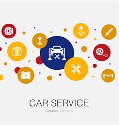 Car service trendy circle template with simple vector