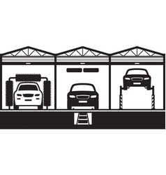 Car service with stand canal and carwash vector