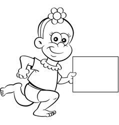 Cartoon baby girl running while holding a sign vector