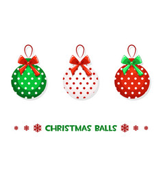 cartoon christmas green-red balls vector image