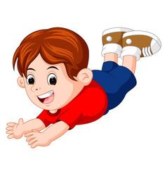 cartoon happy kids pose flying vector image