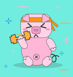 cartoon pink pigs exercise character cute vector image