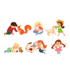 Children boys and girls petting and feeding vector