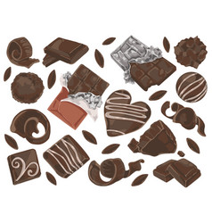 chocolate shavings and pieces vector image