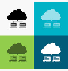 Cloud network server internet data icon over vector