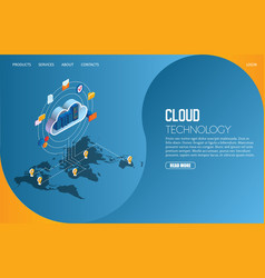 cloud technology landing page website vector image