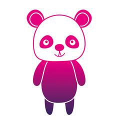 Color silhouette cute and happy panda wild animal vector
