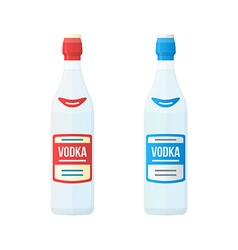 colored flat red and blue label couple vodka vector image vector image