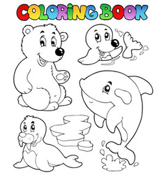 Coloring book wintertime animals 1 vector