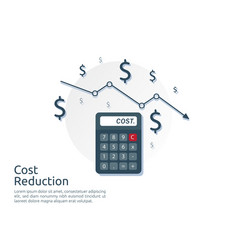 Cost reduction concept calculator and arrow line vector