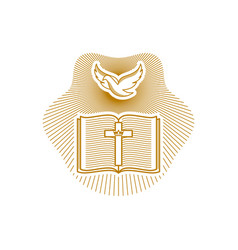 Dove open bible and cross of jesus christ vector