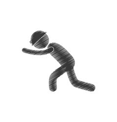 drawing mining worker helmet push figure pictogram vector image