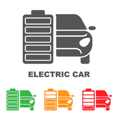 Electric car battery charging sign icon with flat vector