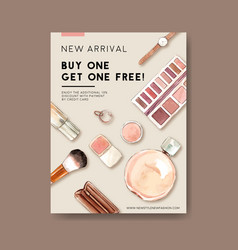 Fashion poster design with cosmetics accessories vector