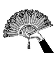 female hand with open fan vector image