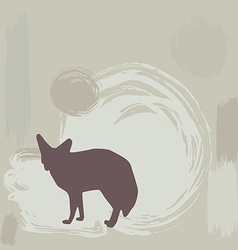 Fennec fox silhouette on grunge background vector image