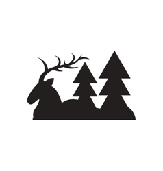 Flat icon in black and white deer forest vector