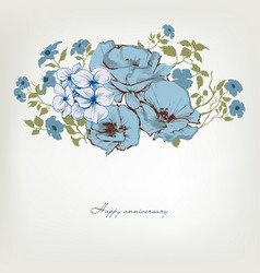 Floral background blue flowers bouquet vector