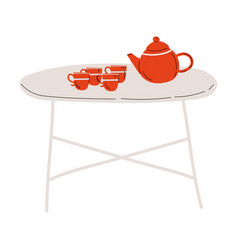 folding tea table with red cups and teapot vector image