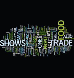 Food trade shows text background word cloud vector