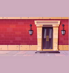 Front door with stone frame in old building facade vector