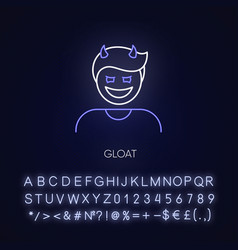 Gloat neon light icon vector