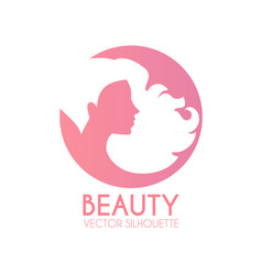 Hair care logo design female silhouette with long vector