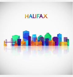 halifax skyline silhouette in colorful geometric vector image
