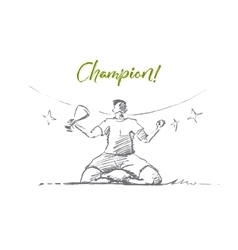 Hand drawn champion holding victory cup lettering vector