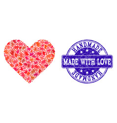 handmade collage of love heart and textured stamp vector image