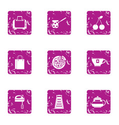 hearty breakfast icons set grunge style vector image