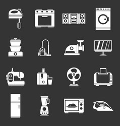 Household appliances icons set grey vector