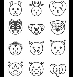 Icon set animals black and white vector