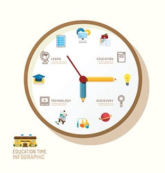 Infographic watch and flat icons idea education vector