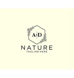 Initial ad letters botanical feminine logo vector