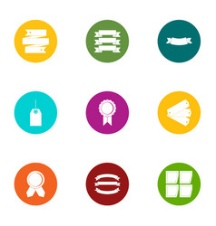 ink ribbon icons set flat style vector image