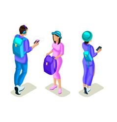 isometrics young people teenagers stylish clothe vector image