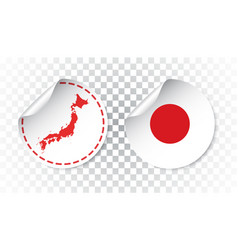 Japan sticker with flag and map label round tag vector