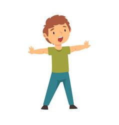 Joyful boy opened his hands cartoon vector
